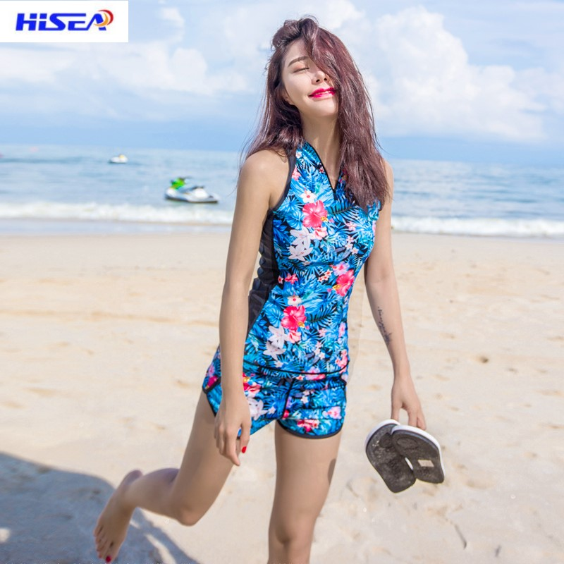 Hisea Diving Clothing Women Wetsuits Shorts Swim Shirt Diving Tops Long Sleeve Swimsuits for Surfing Water Sports Floral