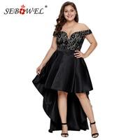 SEBOWEL Plus Size Whitney Formal Taffeta Party Dress Women Sexy Lace V Neck High Low Maxi Dresses Off Shoulder Big Size Dresses
