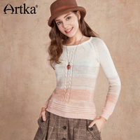 Artka Women S 2017 Spring New Gradient Color Casual Sweater Fashion O Neck Raglan Sleeve All