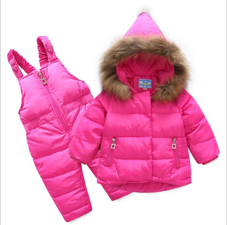 2017 Boys Ski Suit Brand Winter Children Clothing Set For Girls Jacket Coat + Overalls Warm Down Snowsuit Baby Girl Kids Clothes 2pcs set kids clothes down jacket rompers sport ski suit girls boys clothes toddler baby tracksuit winter children clothing