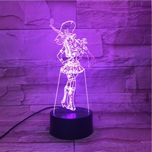League of Legends LoL Heros LED Night Light Touch Sensor 7 Color Changing the Sheriff Piltover Caitlyn Table Lamp Bedroom