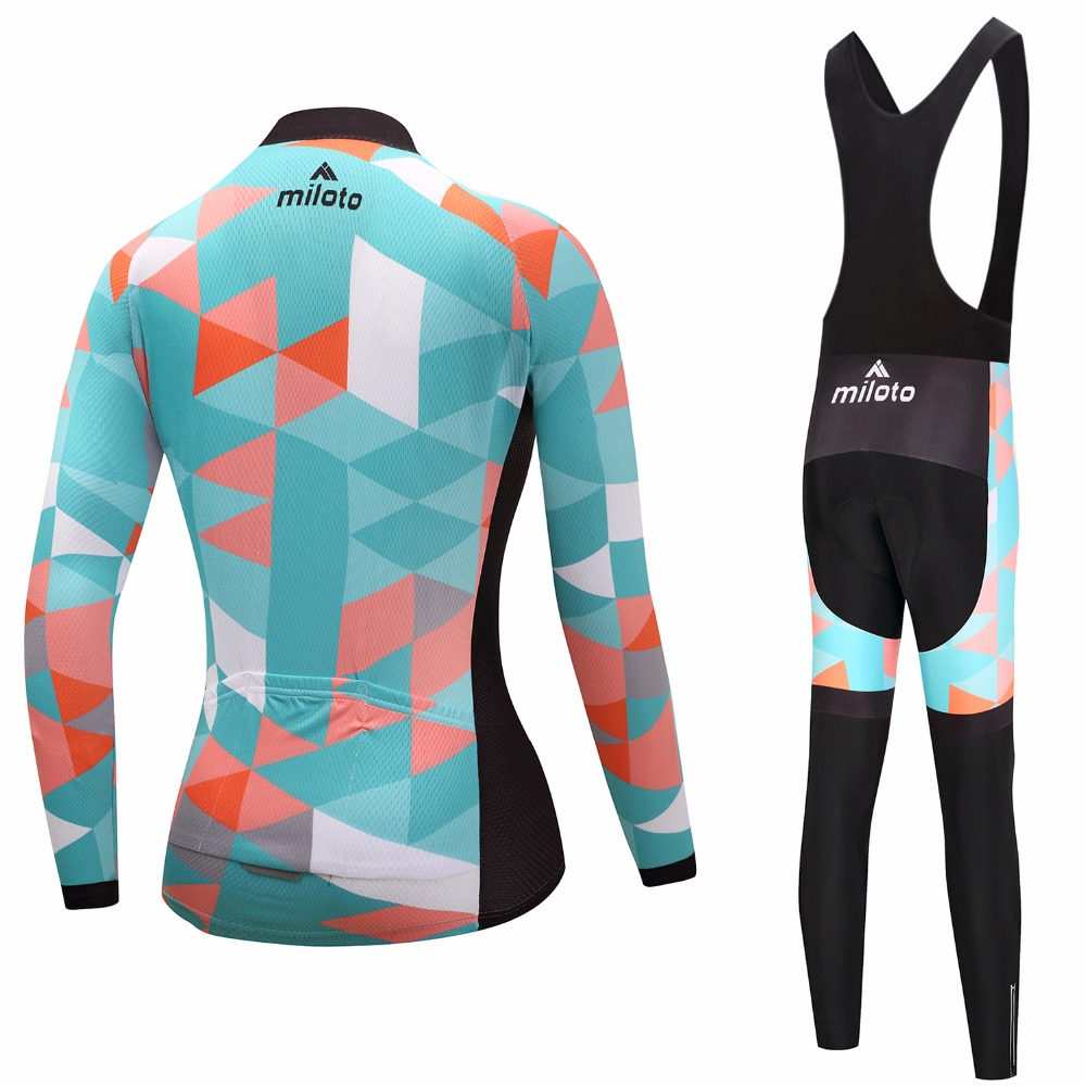 2018 Womens Cycling Jerseys Sets Ropa Ciclismo Cycle Clothes Long Sleeve Jerseys Sets Bicycle Sportswear Cycling Clothing-in Cycling Sets from Sports & Entertainment    2