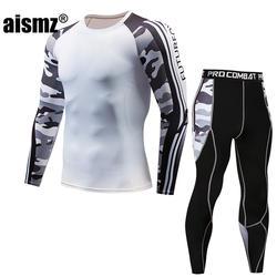 Aismz Рашгард футболка с длинными рукавами Фитнес комплект колготки Для мужчин сжатия спортивный костюм Для мужчин Тактический Moletom Masculino 2