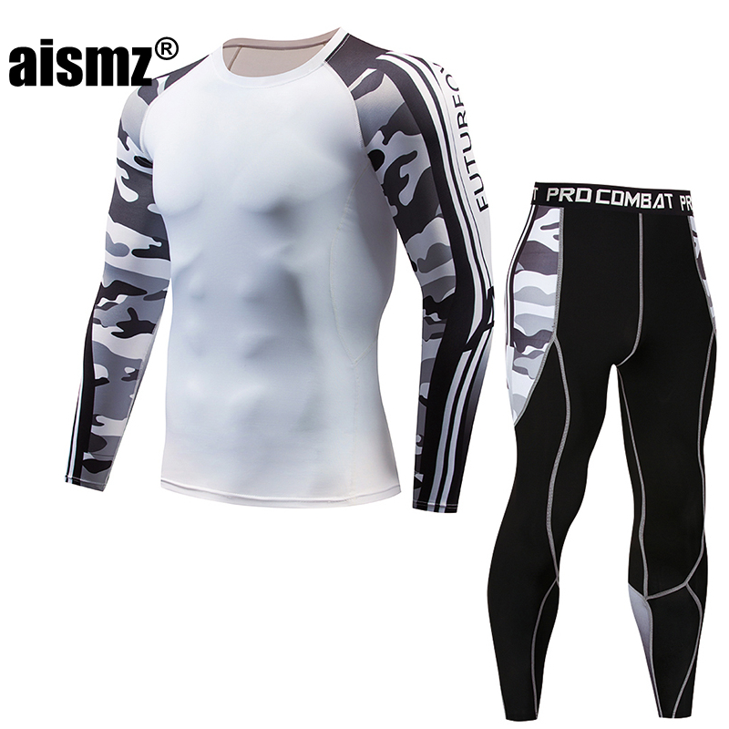 Aismz rashguard Long Sleeve T-shirt Fitness Set Tights Mens Compression Tracksuit Men Tactical Moletom Masculino 2 Pieces Suits