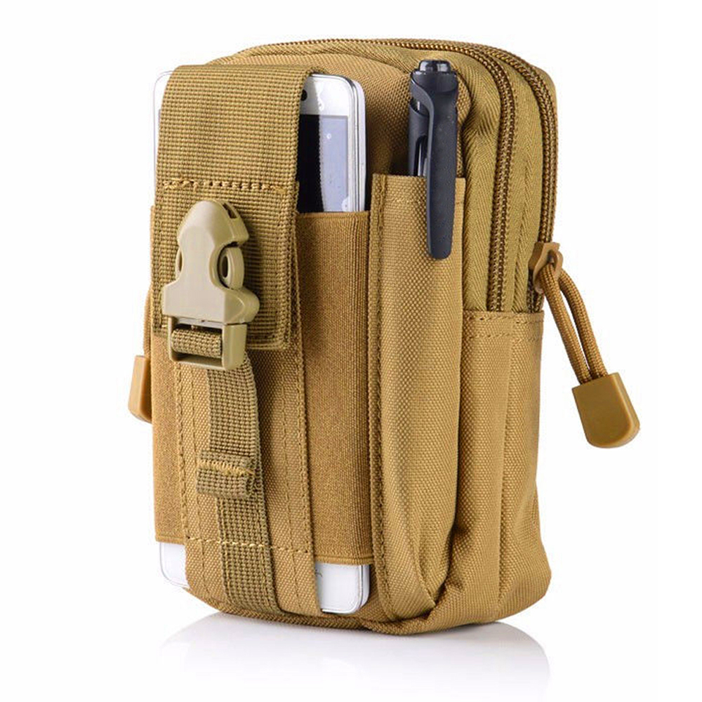 Hunting Molle Pouch Military Compact Waist Bag Pack Tactical Utility Gadget Belt with Cell Phone Case Belt Clip Holster TanHunting Molle Pouch Military Compact Waist Bag Pack Tactical Utility Gadget Belt with Cell Phone Case Belt Clip Holster Tan