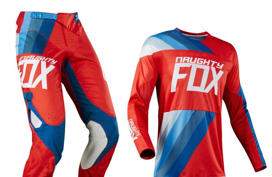 2018 NAUGHTY Fox Draftr MX Racing Jersey Pants Mens Combo Motocross Racing 360 Riding Dirt Bike Offroad Protective Gear Set