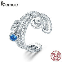 BAMOER High Quality Authentic 925 Sterling Silver Double Layer Moon Sun Dangle Ring For Women Sterling
