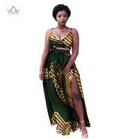 Summer African Skirt Sets For Women Ankara Wax Batik Printing Suit Africa Women Cotton Fabric Top+skirt Clothing AT1365
