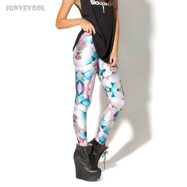 e54b276b10 Cheap Fitness Clothes Sexy Women Skinny Jeggings Stretchy Pants 3D Funky  Colorful Intensive Pill Leggings Pencil Slim Trousers