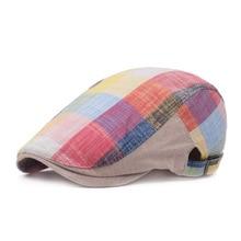 Cap British Berets Newsboy-Hats Ivy-Caps Linen Retro Flat Casual Women Plaid Unisex Cotton