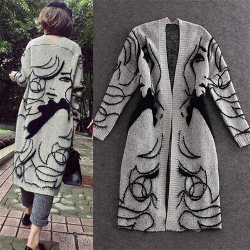 2016 New Autumn Winter Rabbit Hair Blend Knitted Cardigans Women Girl Print Jumper Sweater Thicken Maxi Cardigan Coat Oversized