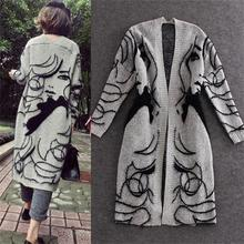 2015 new autumn and winter in the long loose folk style casual knit cardigan sweater collar V large female jacket