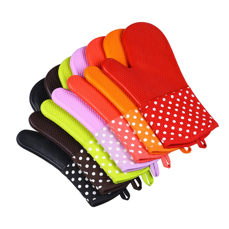 Silicone Heat Insulating Gloves for Microwave Oven Fashion Dotted Oven Mitts Pot Holder 200C Heat insulation Baking Glove 1Piece
