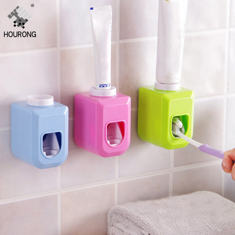 Automatic Toothpaste Dispenser Toothbrush Holder Organizer Wall Mounted Toothpaste Squeezers Dispenser Bathroom Accessories