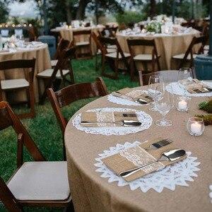 Image 5 - Ourwarm 10 個黄麻布レースカトラリーポーチ素朴な結婚式の食器ナイフフォークホルダーバッグヘッセ行列ジュートテーブルデコレーションアクセサリー