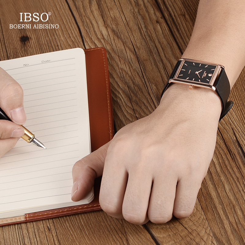 IBSO 7MM Ultra-thin Rectangle Dial Quartz Wristwatch Black Genuine Leather Strap Watch Men Classic Business New Men Watches 2019 Lahore