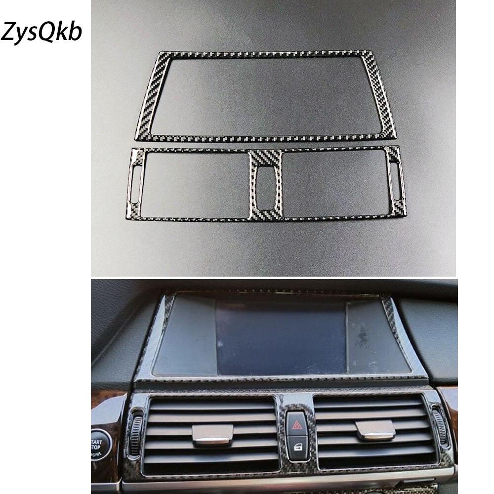 Panneau de commande de Navigation intérieure de voiture en Fiber de carbone sortie de climatiseur garniture de cadre décoratif pour BMW e70 e71 X5 X6