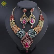 Gorąca sprzedaż złoty kolor Multicolor kryształki górskie w kształcie pióra naszyjnik kolczyki zestaw zestawy biżuterii ślubnej w stylu afrykańskim
