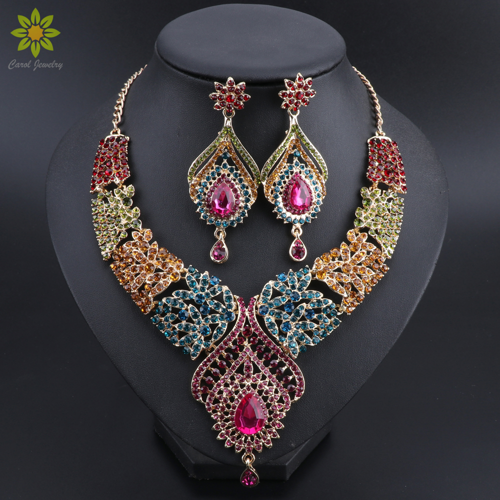 Hot sale Gold Color Multicolor Crystal Rhinestones Feather shaped Necklace Earrings Set African Bridal Jewelry Sets