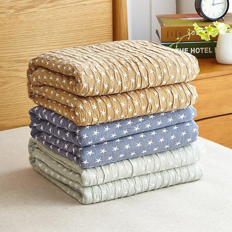 Home bedding AB side 100 Cotton Blue Star Towel Blanket Summer Camel Gray Blanket 150 200cm