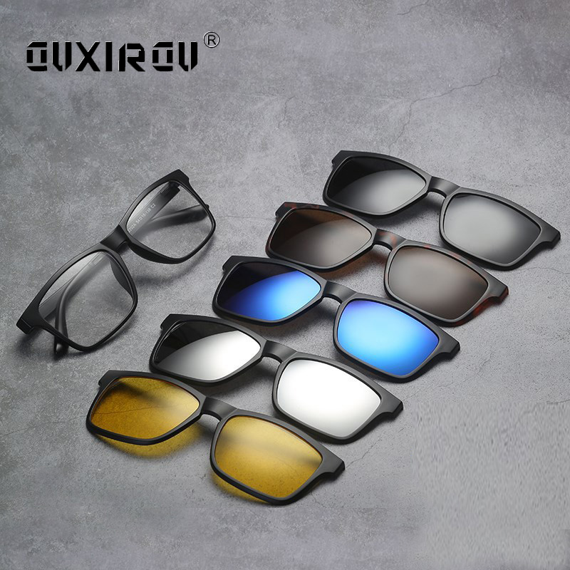 Fashion Man Eyeglasses Frames 5 Clip On Women Sunglasses Polarized Magnetic Glasses Male Driving Spectacle Myopia Optical S2264