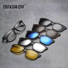Модные мужские оправы для очков с 5 клипсами, женские солнцезащитные очки, поляризованные Магнитные очки, мужские очки для вождения, очки для близорукости, оптические очки s2264