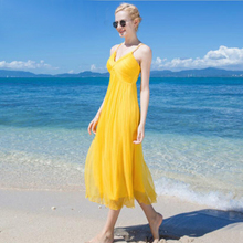 купить Silk Dress Women Elegant Long V-neck Yellow Beach dresses 100%silk Women Printed High Quality Clothing Free Shipping HOT Selling недорого
