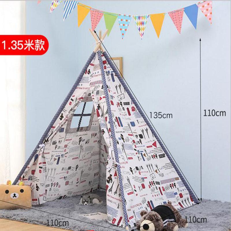 Bébé jouer tipi enfants jouets tente pliable indien en bois jeu maison Wigwams pour enfants lecture coin décor photographie accessoires - 4