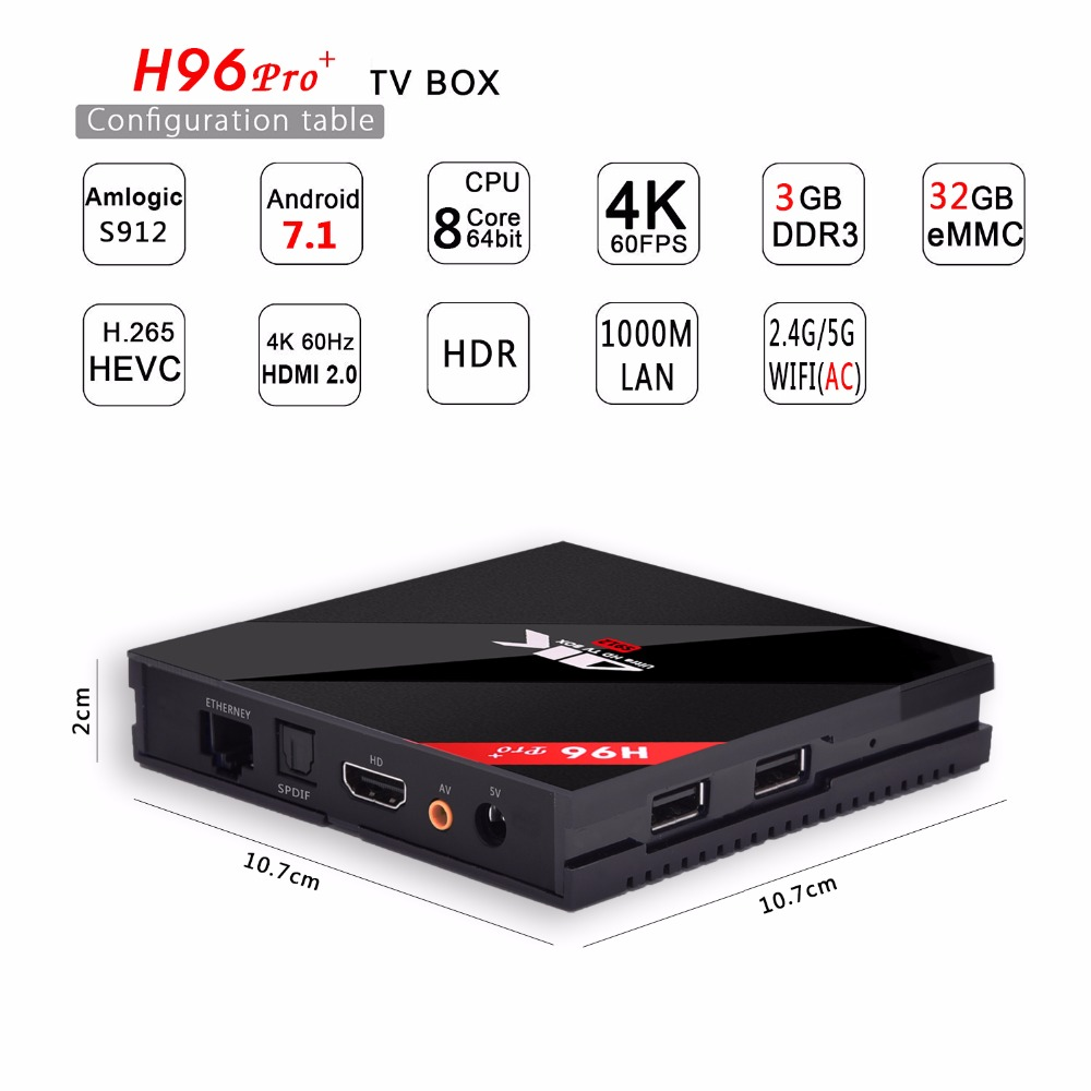 Original H96 Pro Plus Android 7.1 TV Box Amlogic S912 Octa Core Max 3G/32G 2.4G/5.8GHz Wifi 4K HDR BT4.1 1000M HD Media Player цена