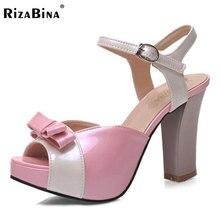 Rizabina женские туфли на высоком каблуке пряжки смешанные Цвет бантом сандалии на каблуке с открытым носком дамы ежедневно обувь для вечеринок Размеры 30-46