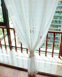 Image 5 - ZHH 完成カーテンユーロ牧歌的な編み中空寝室のカーテンシンプルなリビングルームのカーテン綿リネン窓カーテン装飾
