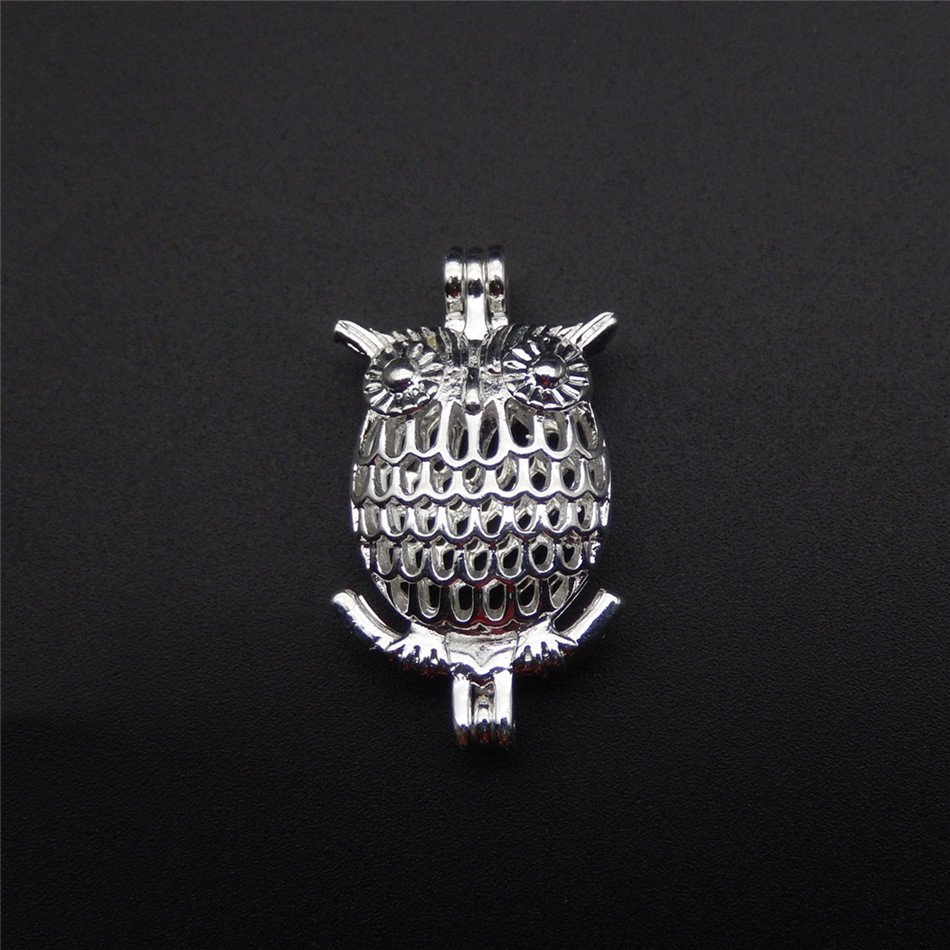 10pcs bright silver owl pearl cage necklace pendant aroma oil diffuser adds your own pearl stone makes it more attractive in Charms from Jewelry Accessories