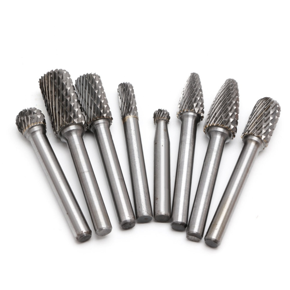 Tools : 8 Pcs set 6mm-12mm Tungsten Carbide Burr Bit CNC Engraving 1 4inch Rotary Cutter Files Hot Sale