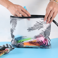 Fashion Women Clear Cosmetic Bags PVC Toiletry Bags Travel Organizer Necessary Beauty Case Makeup Bag Bath Wash Make Up Box Cosmetic Bags