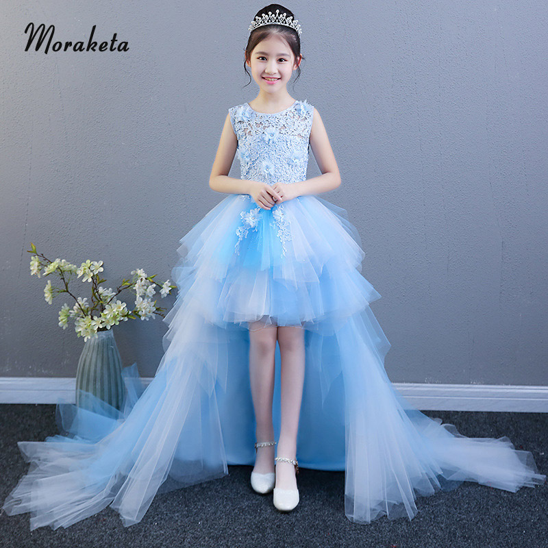 Princess High Low Blue   Flower     Girl     Dresses   With Train Lace Appliques Tiered Tulle Short Front Long Back   Flower     Girl     Dresses