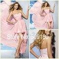 Elegante Rosa Chiffon Decote BD62650 Girls Party Design Personalizado Vestidos de Dama de honra Curto Na Frente Longa Nas Costas