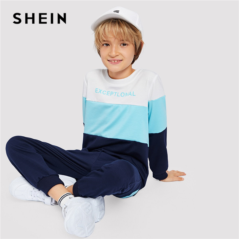 SHEIN Boys Cut And Sew Panel Sweatshirt With Carrot Pant Boys Clothing Two Piece Set 2019 Spring Fashion Casual Children Clothes cut and sew striped wrap romper