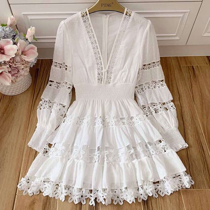 Red RoosaRosee Summer Sexy V Neck Hollow Out Floral Crochet White Cotton Short Mini Dress Women