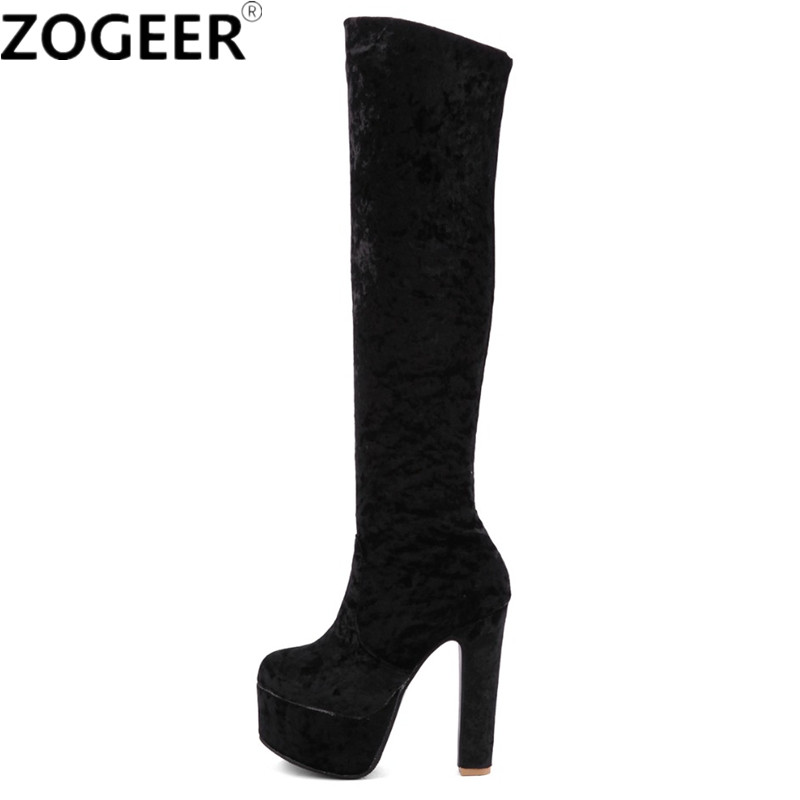 Plus size 48 New Women Boots Fashion Velvet High Heels Over The Boots Knee Sexy Round Toe Platform Nightclub Party Shoes Woman new arrival sexy over the knee boots women platform round toe thin high heels boots black white shoes woman winter