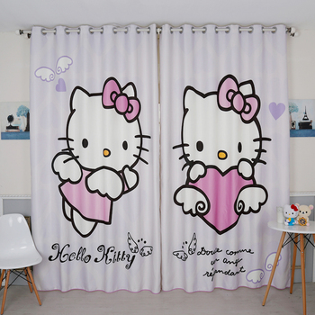 Custom Made 2x Grommet Window Drapery Window Curtain Nursery Kids Children Room Window Dressing Tulle 200x260cm Kitty Cat Purple