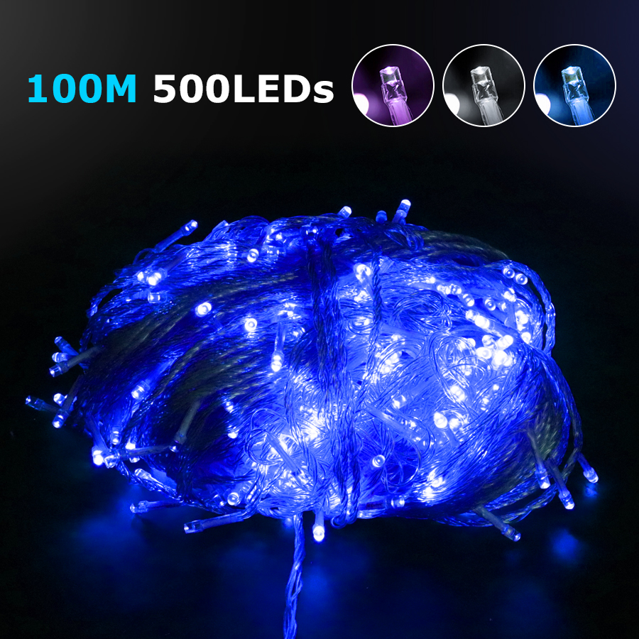 Led String Lights 110v or 220v 100M 500Leds Holiday Decoration Led String Lamp Festival Christmas Lights Outdoor Lighting 30m 300 led 110v ball string christmas lights new year holiday party wedding luminaria decoration garland lamps indoor lighting