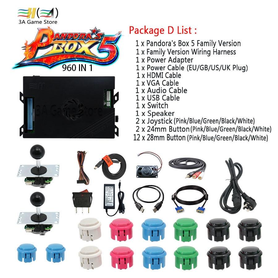 Pandora Box 5 960 in 1 Family Version Control Accessories diy arcade joystick buttons HDMI VGA USB Speaker kit arcade 2 players double joystick family arcade games console pandora s box 4s 815 in 1 game board