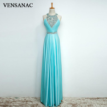 VENSANAC 2018 Luxury Crystals Sash Halter A Line Long Evening Dresses Elegant Sequined Pleat Backless Party Prom Gowns