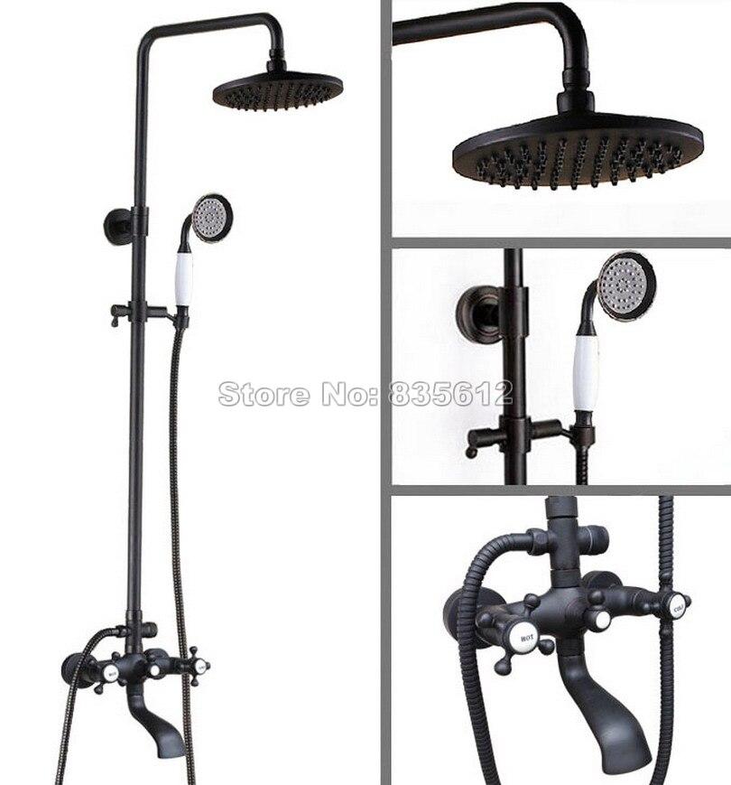 Black Oil Rubbed Bronze Wall Mounted Bathroom 8 Round Shower Head Rain Shower Faucet Set Dual Handles Bath Tub Mixer Tap Whg106