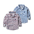 The boy Lapel long sleeved shirt 2017 New Kids Baby all-match shirt striped shirt and children