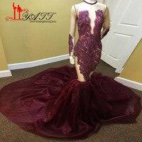 Liyatt 2017 African Burgundy Mermaid Long Sleeves Prom Evening Dresses Sheer See Through Beaded Court Train