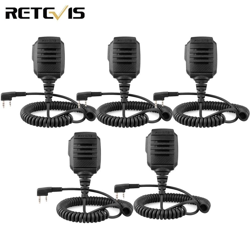 5 pcs RS-114 IP54 Impermeabile Altoparlante Microfono 2 PIN per Kenwood Retevis H777 RT22 RT24 RT81 Baofeng UV-5R 888 S walkie Talkie