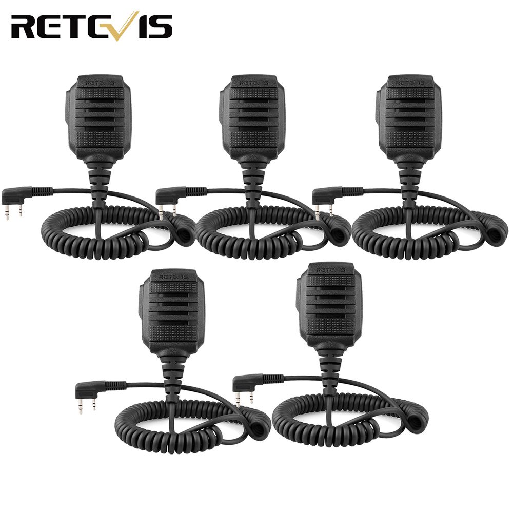 5pcs RS-114 IP54 Waterproof Speaker Microphone 2 PIN For Kenwood Retevis H777 RT22 RT24 RT81 Baofeng UV-5R 888S Walkie Talkie