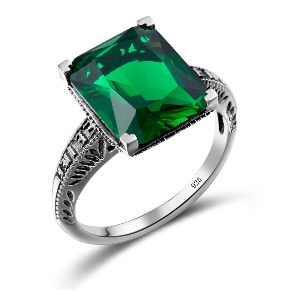 szjinao charms 3ct green crystal cz love ring for wedding luxury gothic 925 sterling silver rings - Goth Wedding Rings