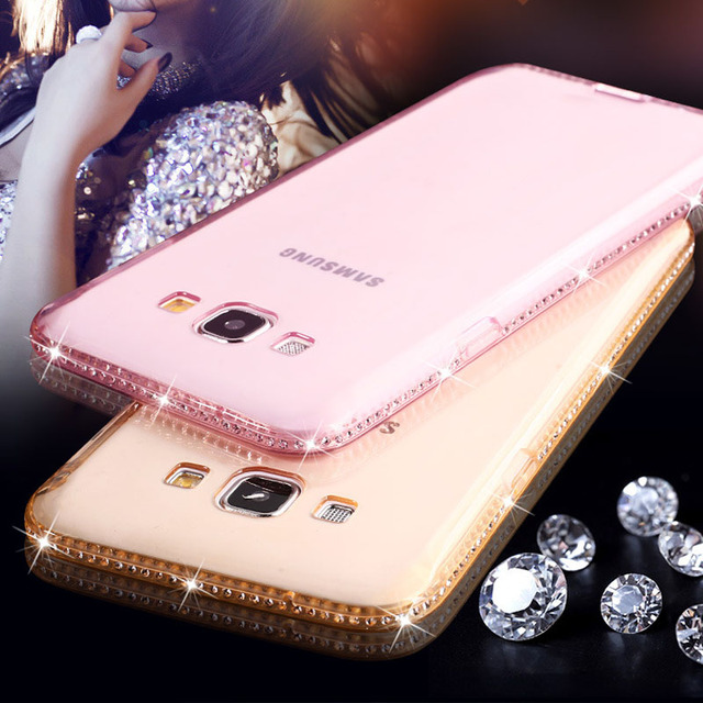 d11759e3e90 For Samsung Galaxy J3 J5 J7 2016 S7 Edge Note 5 S8 S6 A3 A5 A7 2017 S9 Plus  Case Cover Bling Capa Rhinestone Glitter Phone Cases